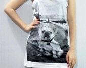 DUE DATE Poster Movie Bulldog Sunny Animal Tank Top Women Tunic Top Sleeveless Women T-Shirt White T-Shirt Singlet Vest Women Size S M