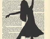 Fashion Silhouette Dancer Drawing on Vintage Paper Hand Cut