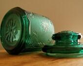 "Vintage Tiara Indiana Glass Spruce Green Sandwich 7 1/2"" Medium Canister"