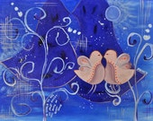 Midnight Birds - acrylic on canvas painting with an inspirational message - FREE SHIPPING
