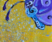 Purple Butterfly, Acrylic on canvas, miniature painting, back side is a magnet, Magnet art, butterfly magnet