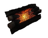 Vintage Electric Fireplace Logs - Flickering Motion Burning Fire