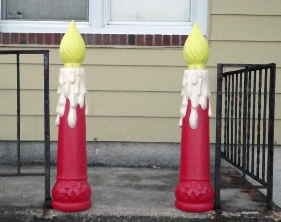 vintage christmas lights candles blow mold dripping candle