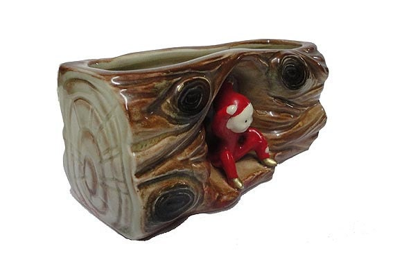 Vintage Pixie Log Planter Ceramic Sprite Elf Sale By