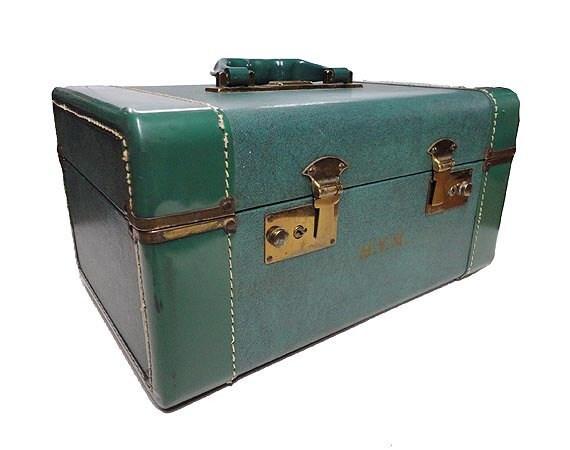 Vintage Crown Train Case - Travel Case Luggage Green