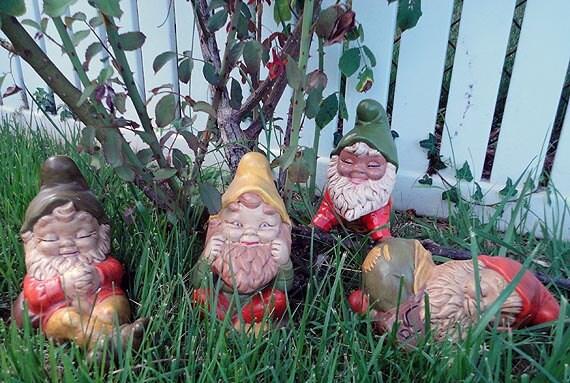 Vintage Garden Gnomes - Elf Lawn Statues Elves Lawn Art