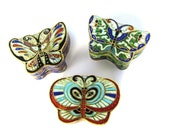 Vintage Butterfly Trinket Box Boxes Chinese Enamel Butterflies set of 3 at HendyFinds