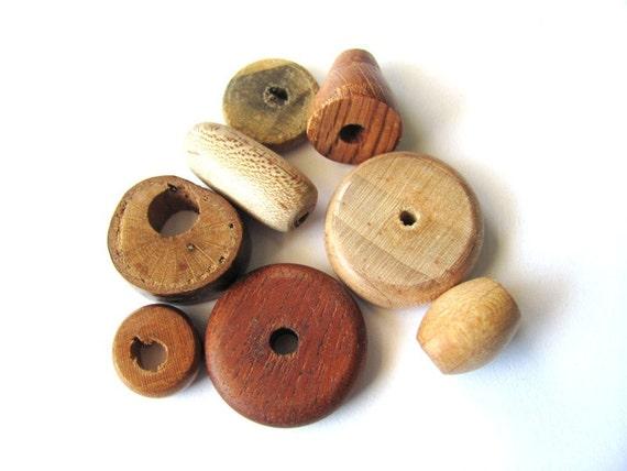Handmade Wood Beads Mixed Lot of 8 Destash Supplies at Hendyfinds