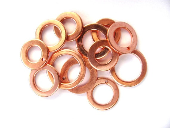 Copper Upcycled Washers Drilled Undrilled Mixed Sizes Set of Twelve Supplies at Hendyfinds
