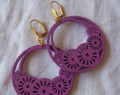 Violet Filigree Cut Wood Earring