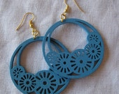Light blue Filigree Cut Wood Earring