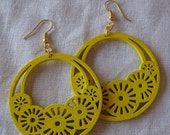 Yellow Filigree Cut Wood Earring