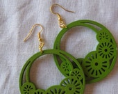 Olive Green Filigree Cut Wood Earring