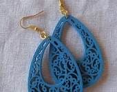 Light blue Filigree Cut Wood Earring (Drop)