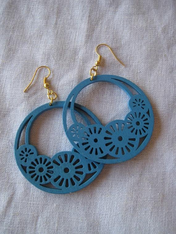Light blue Filigree Cut Wood Earring