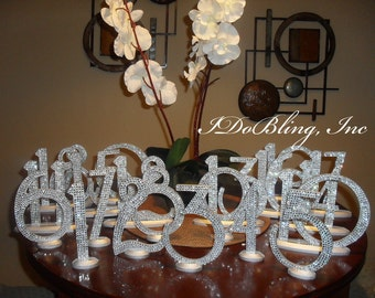 Bling Crystal Rhinestone Wedding Reception Birthday Party Table Numbers 1-15