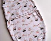 Baby Swaddler / Snuggler / Blanket - Organic, Elephant with bunting banner