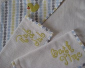Baby Bath Towel Set - Organic Birch Fabric and Organic French Terry (Ready to Ship)