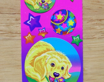 Vintage Lisa Frank Sticker Lab chewing on Ball