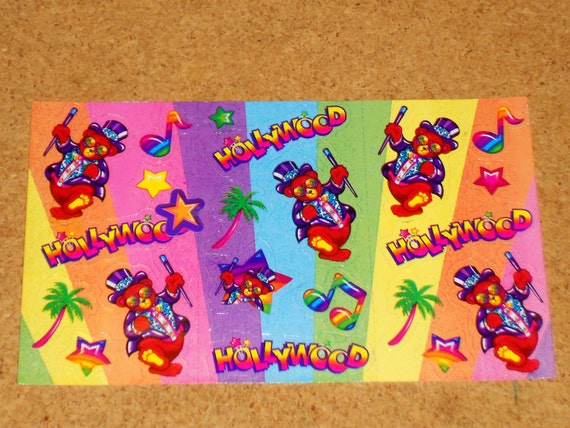 Vintage Lisa Frank Stickers Half Sheet Hollywood Bear