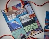 Set of 4 Chalkboard Gift Tags Handmade Vintage-Look Travel Theme Art Deco