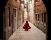 2 FOR 1 SALE - red riding hood art, fairytale, warm tone, venice - Little Red Cloak 8 x 10