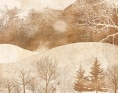 2 FOR 1 SALE - winter woodland art, snow, forest, warm tone - Winter Hills 8 x 10