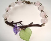 Rose Quartz and Purple Flower Branch Antique Style Bracelet Branch Bracelet