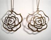 Antique Bronze Filigree Rose Long Drop Earrings
