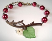 Burgundy Pearls and Flower Branch Antique Bracelet