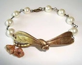 Giant Dragonfly Antique Bronze Bracelet with Pearls