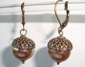 Bronze Brass Acorns Antique Style Earrings with Bronze Pearls