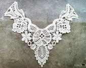 Retro Victorian White Crochet  Neck Lace Collar for garment, gift or embellish accessories.