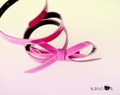 Women Waist Tie Bow Belt Pink Fuchsia.