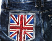 1 Patch Of The Flag of the United Kingdom - Union Jack - Made of Shiny Sequins
