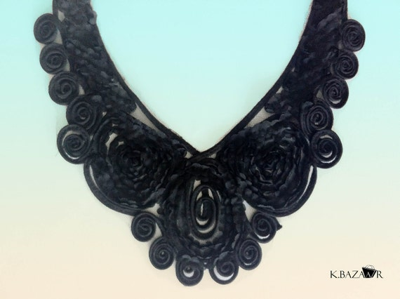 Floral Black Necklace  - Shirt Blouse Dress - Collar - Handmade .