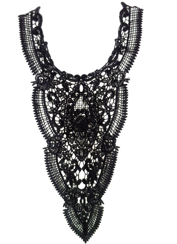 Floral Triangle Black Necklace Collar with Embroidered Flower Pattern for Top, Shirt, Blouse and Dress Embellishments.