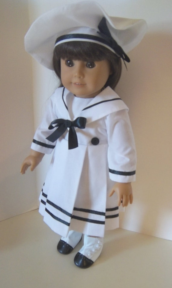 "American Girl 18"" doll clothing clothes - White Sailor Dress with Black Trim and Matching Beret"