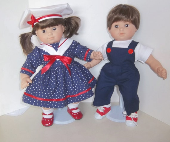 "American Girl 15"" Bitty Twins Clothing - Navy Boy/Girl Sailor Set"