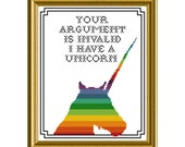 PDF counted cross stitch pattern 8X10 - Your argument is invalid I have a Unicorn