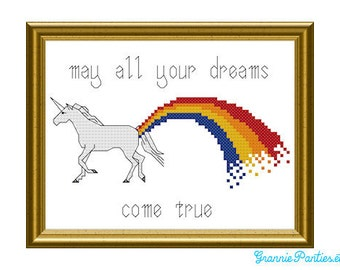 """5x7 Counted cross stitch sampler pattern ~ """"May all your dreams come true """""""