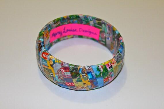Disneyland/Disney's California Adventure Map Bangle Bracelet