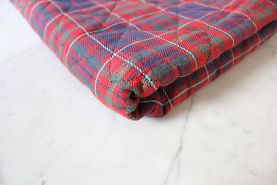 Plaid Cotton and Wool Quilted Lining - Vintage Red and Blue Plaid with Raw Wool - Perfect for Vests and Jackets