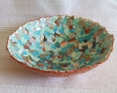"11""Large Round Paper Bowl -  Turquoise, Tan and Copper Recycled Paper Pulp Collage Bowl"