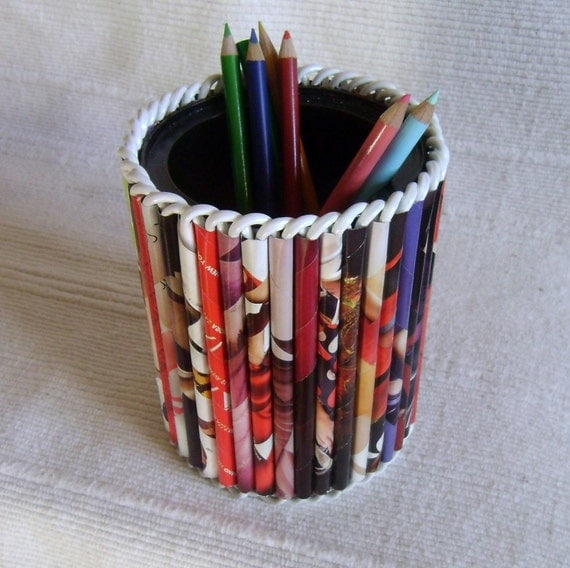 Large Pencil Holder Recycled Magazine Reed Organizer by ...