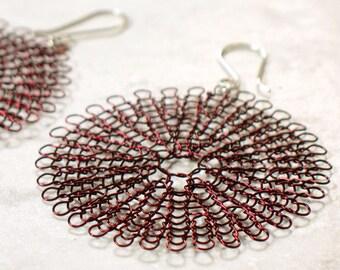 knit wire earrings, large in burgundy