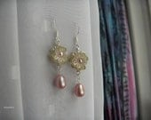 Floral Lucite and Freshwater Pearl Earrings
