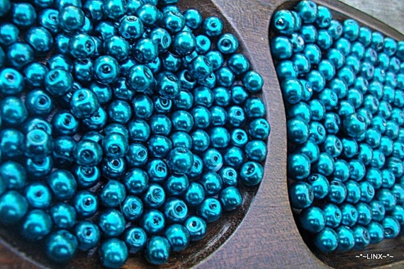 Teal Pearl beads / 4mm / 6mm