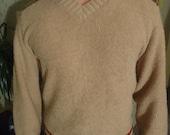 SALE 20% OFF 60's vintage light brown knit Men's sweater. VLV rockabilly
