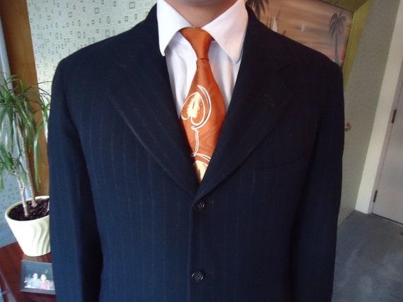 1940's Vintage Men's Black Pinstriped Suit